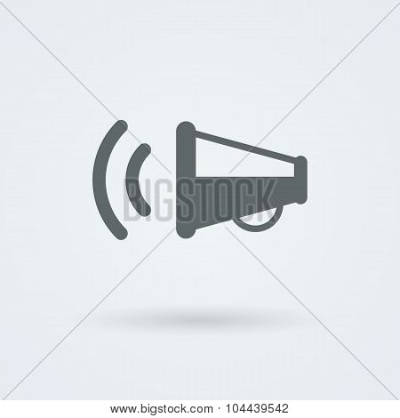 Simple, minimalist icon with a picture of a megaphone.