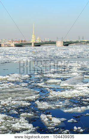 Spring Icedrift On The Neva River And Peter And Paul Fortress On The Background
