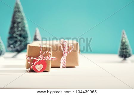 Little Gift Boxes In Miniature Evergreen Forest
