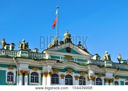 Russian Flag Over The Winter Palace And Hermitage Museum In Saint Petersburg, Russia