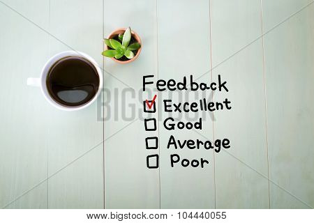 Feedback Concept With A Cup Of Coffee