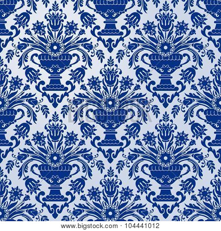 Luxury seamless pattern in trendy damask style. Rich ornamentation with floral elements. Vector illustration.