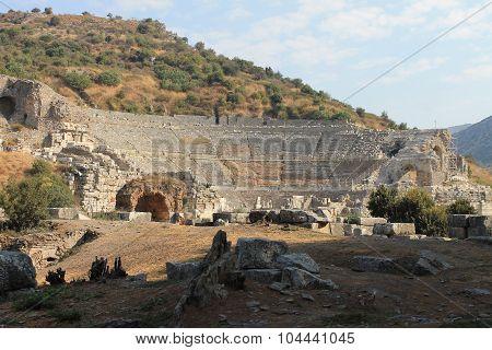 Amphitheatre in Ephesus antique ruins of the ancient city in Selcuk, Turkey
