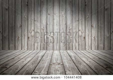 Wood scene background and floor. Box wooden gray boards.