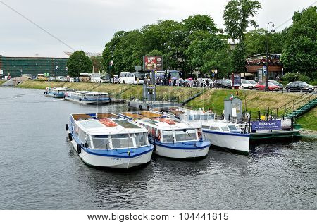 The Parking Of Excursion Boats And The Embankment Near Peter And Paul Fortress In Saint-petersburg,