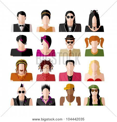 People icon set. Different subcultures in trendy flat style. Vector illustration. Isolated on white background.