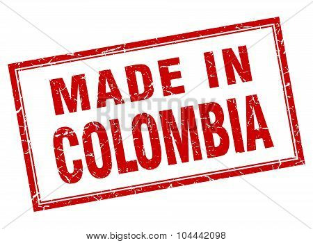 Colombia Red Square Grunge Made In Stamp