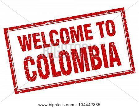 Colombia Red Square Grunge Welcome Isolated Stamp