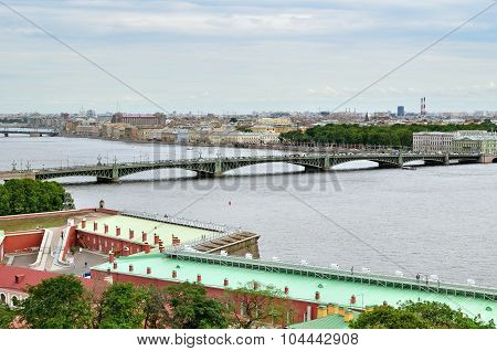 Panorama Of St. Petersburg And Water Area Of Neva River - View From Height