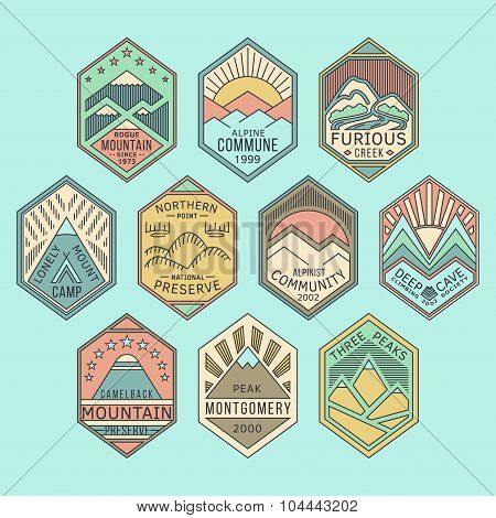 Mountain badges linear 1color