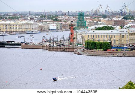 Vasilyevsky Island With Historical Buildings And Water Area Of Neva River  In Saint Petersburg, Russ