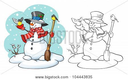 Coloring Book. Cute Snowman With Broom And Two Birds.