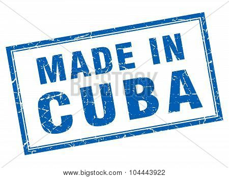 Cuba Blue Square Grunge Made In Stamp