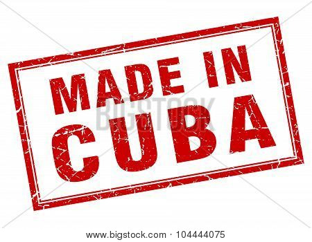 Cuba Red Square Grunge Made In Stamp