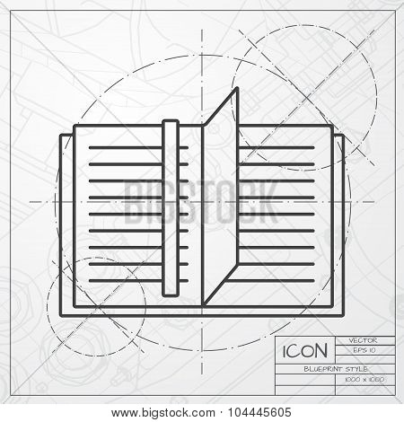 Vector notebook icon. Epsclassic blueprint of0