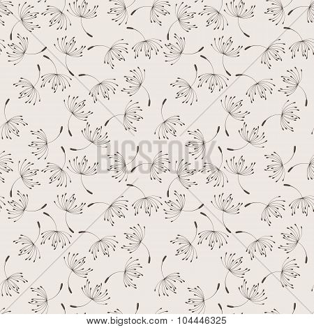 Seamless floral pattern of flying dandelions