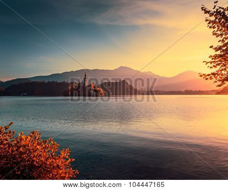 Little Island With Church In Bled Lake, Slovenia At Autumn Sunrise
