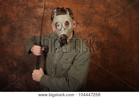 Man With Gas Mask And  Katana Sword On Brown Batik  Background