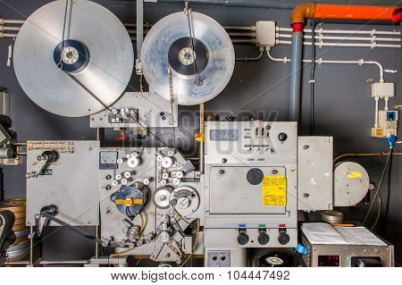 Rome, Italy - April 22 2015. ,rare Vintage Industrial Cinema 35Mm Movie Printer