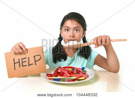 Little Child Eating Sweet Sugar In Candy Dish Holding Sugar Spoon Asking For Help In Unhealthy Nutri