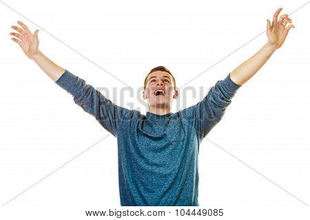 Happy Man Successful Lad With Arms Up