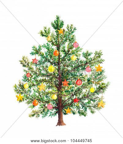 Christmas tree with decorative baubles. Watercolor