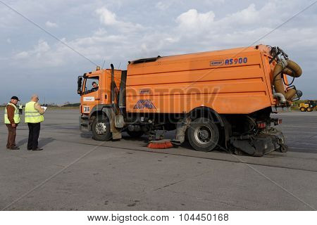 ST. PETERSBURG, RUSSIA - SEPTEMBER 24, 2015: Airport sweeper AS 900 of Schmidt during the annual review of equipment in the Pulkovo airport. The review is held in order to prepare to winter