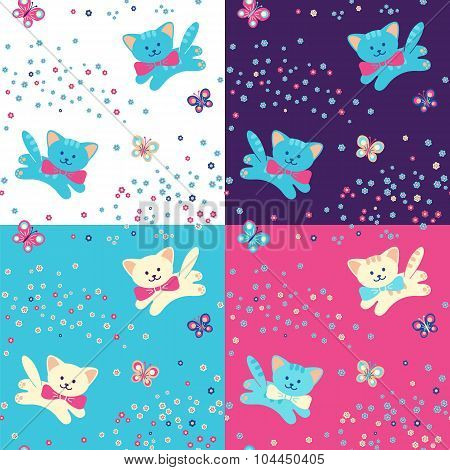 Vector Seamless Pattern. Cats, Flowers And Butterfly.