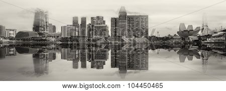 Singapore Skyline And Marina Bay, Black And White