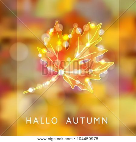 Autumn, Fall Background, Glittering Silhouette Of Maple Leaf, Lights, Vector
