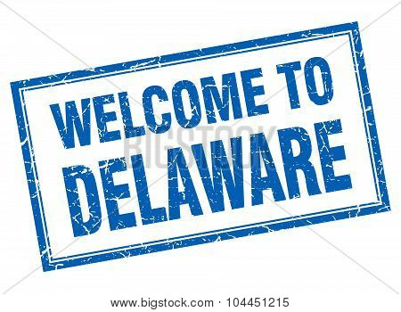 Delaware Blue Square Grunge Welcome Isolated Stamp