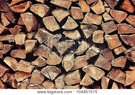 Firewood Background  - Chopped Firewood On A Stack, Vintage Filter Correction