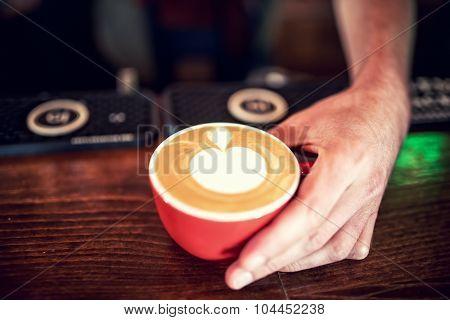 Barman And Barista Creating Latte Art With Milk Foam On Fresh Coffee. Espresso Strong Coffee