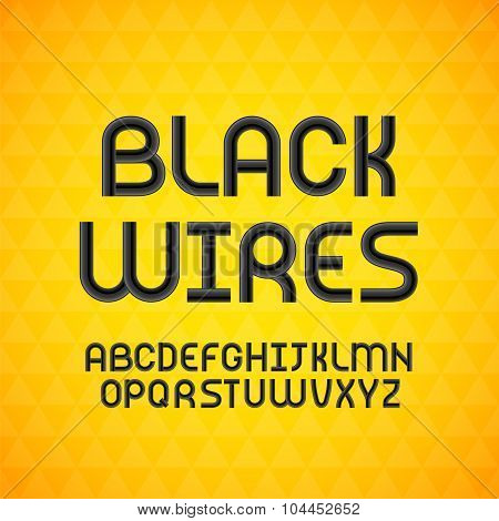 Wired wavy cable, black contour alphabet