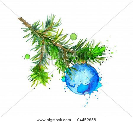 Christmas tree branch with blue bauble ball. Watercolor