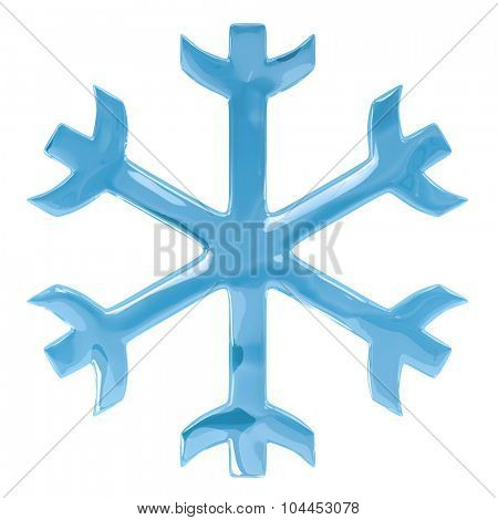 Blue glossy simple snowflake isolated on white background.