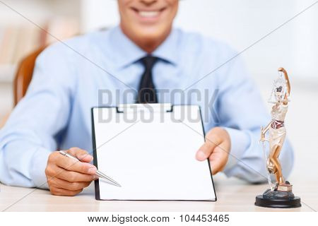 Professional lawyer holding folder
