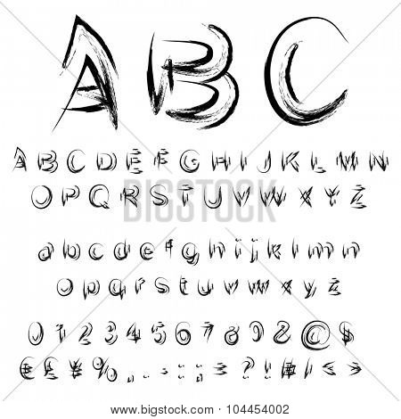 Concept or conceptual set or collection of black handwritten, sketch or scribble paint fonts isolated on white background