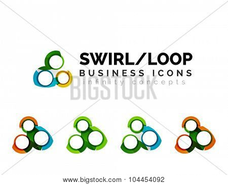 Set of infinity concepts, loop logo designs. Modern color flowing wave design on white