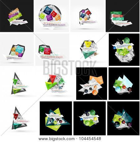 Set of various universal geometric layouts - backgrounds banner advertising layouts - templates, identity. Square, triangle, wave circle or swirl shape design