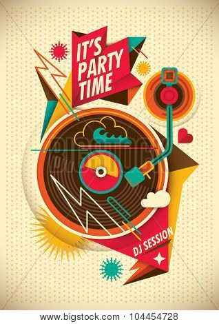 Party poster. Vector illustration.