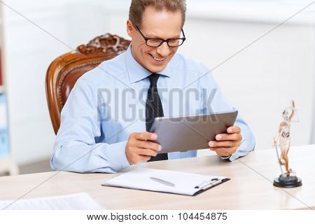 Professional lawyer sitting at the table