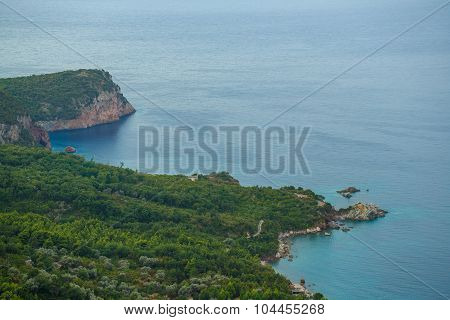 The Picturesque Panorama Of The Adriatic Coast Near The Town Sveti Stefan, Montenegro