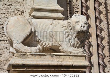 Marble Lion Statue Of Palazzo Dei Priori In Perugia