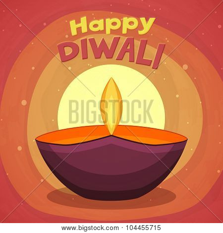 Indian Festival of Lights, Happy Diwali celebration with colourful illuminated lit lamp on stylish background.