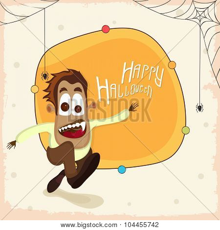 Happy Halloween Party celebration with scary running boy on stylish background.