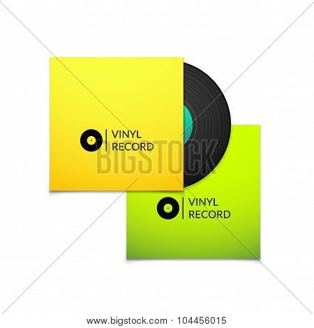 Black vintage vinyl record with blank yellow and green cover case isolated on white background