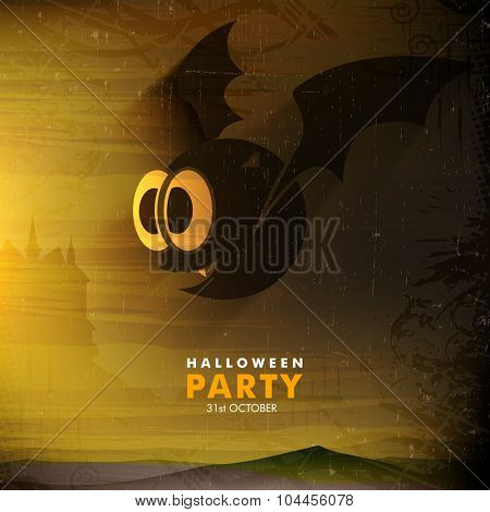 Scary flying bat on horrible night background for Happy Halloween Party celebration.