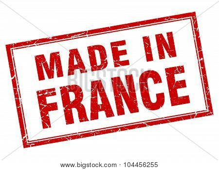 France Red Square Grunge Made In Stamp