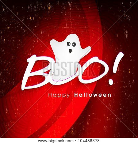 Scary ghost coming out from stylish text Boo on grungy red background for Happy Halloween Party celebration.